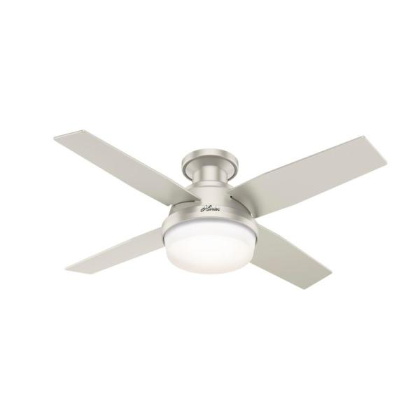 Dempsey 44 in. Indoor/Outdoor Matte Nickel LED Low Profile Ceiling Fan with Light Kit and Remote Control
