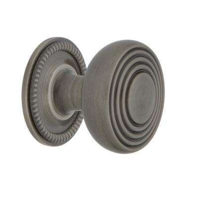 Deco 1-3/8 in. Antique Pewter Brass Cabinet Knob with Rope Rose