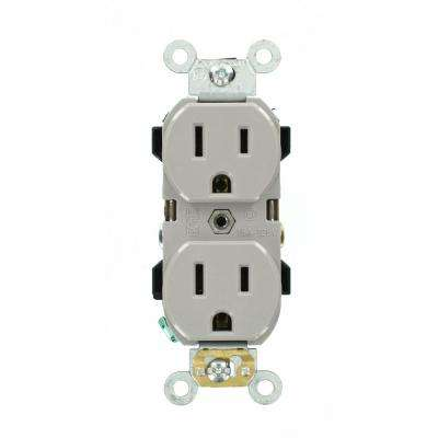 15 Amp Industrial Grade Narrow-Body Duplex Outlet, Gray