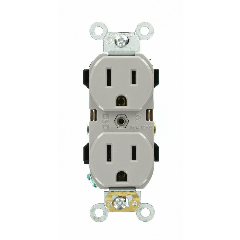 Leviton 15 Amp Industrial Grade Narrow-Body Duplex Outlet, Gray