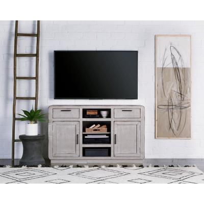 Allure 54 in. Gray Chalk Wood TV Stand with 2 Drawer Fits TVs Up to 66 in. with Storage Doors