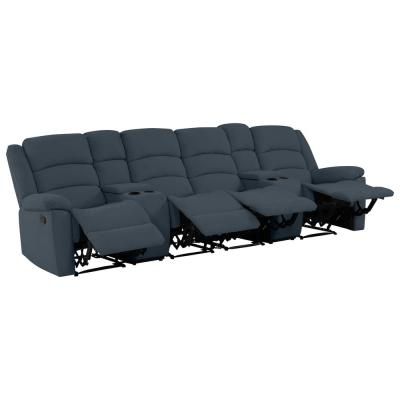 4-Seat Caribbean Blue Plush Low-Pile Velvet Wall Hugger Recliner Sofa with 2 Storage Consoles and USB Ports