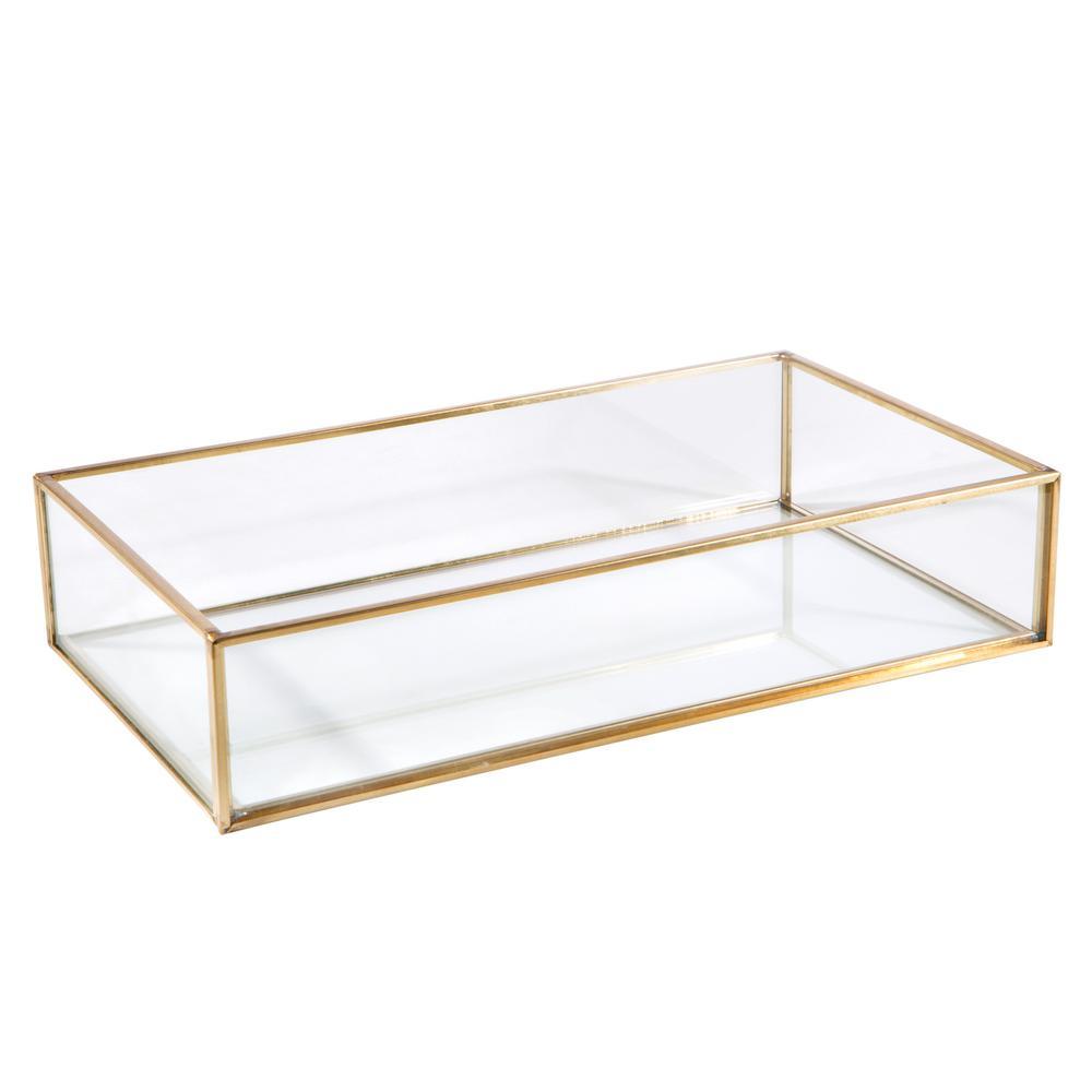 Vintage Gold Glass Keepsake Tray