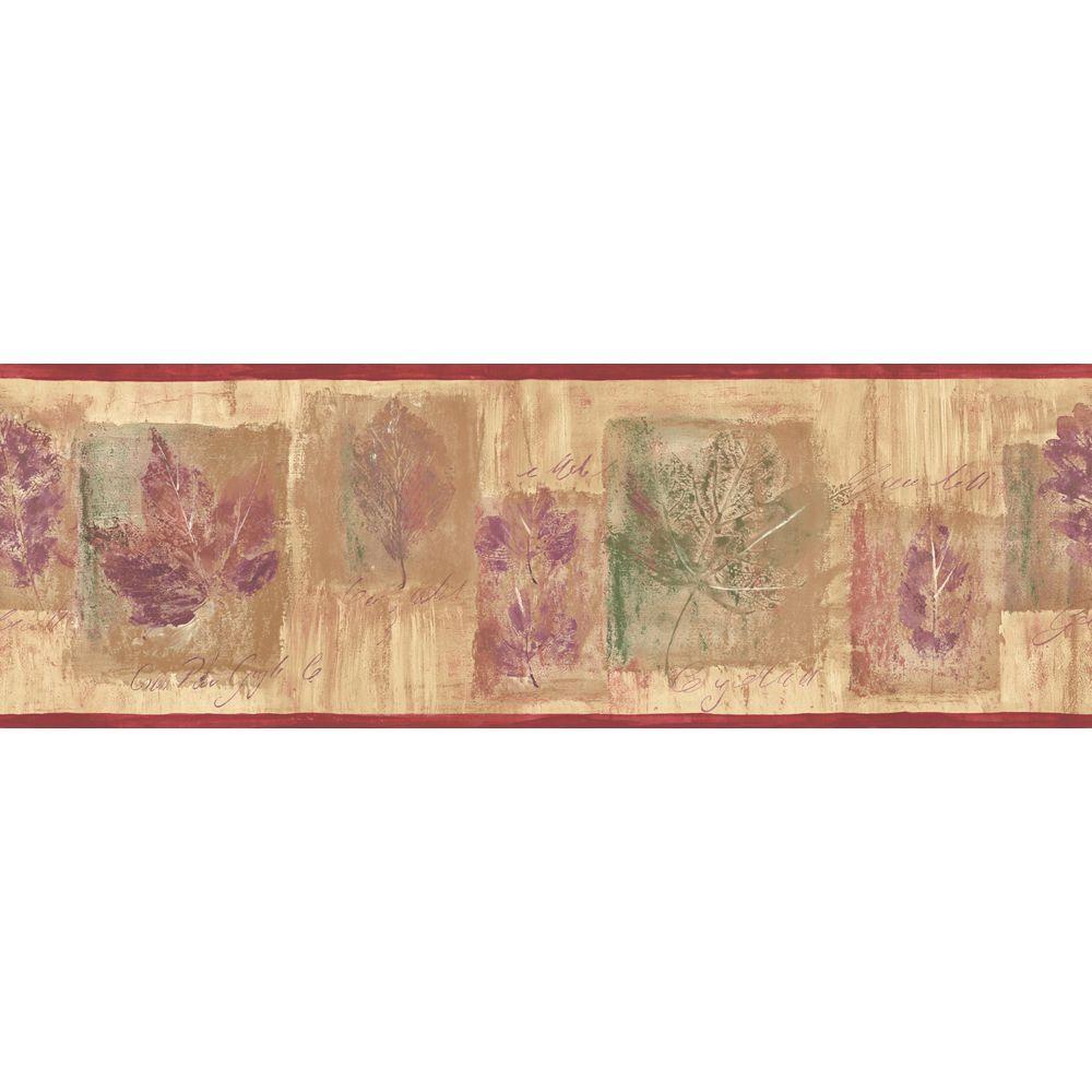 The Wallpaper Company 6.83 in. x 15 ft. Earth Tone Leaf Script Border