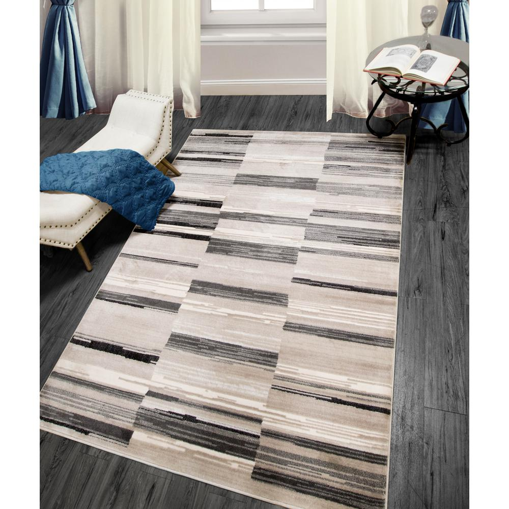 Home Dynamix Bazaar City Stripes Gray 5 Ft 2 In X 7