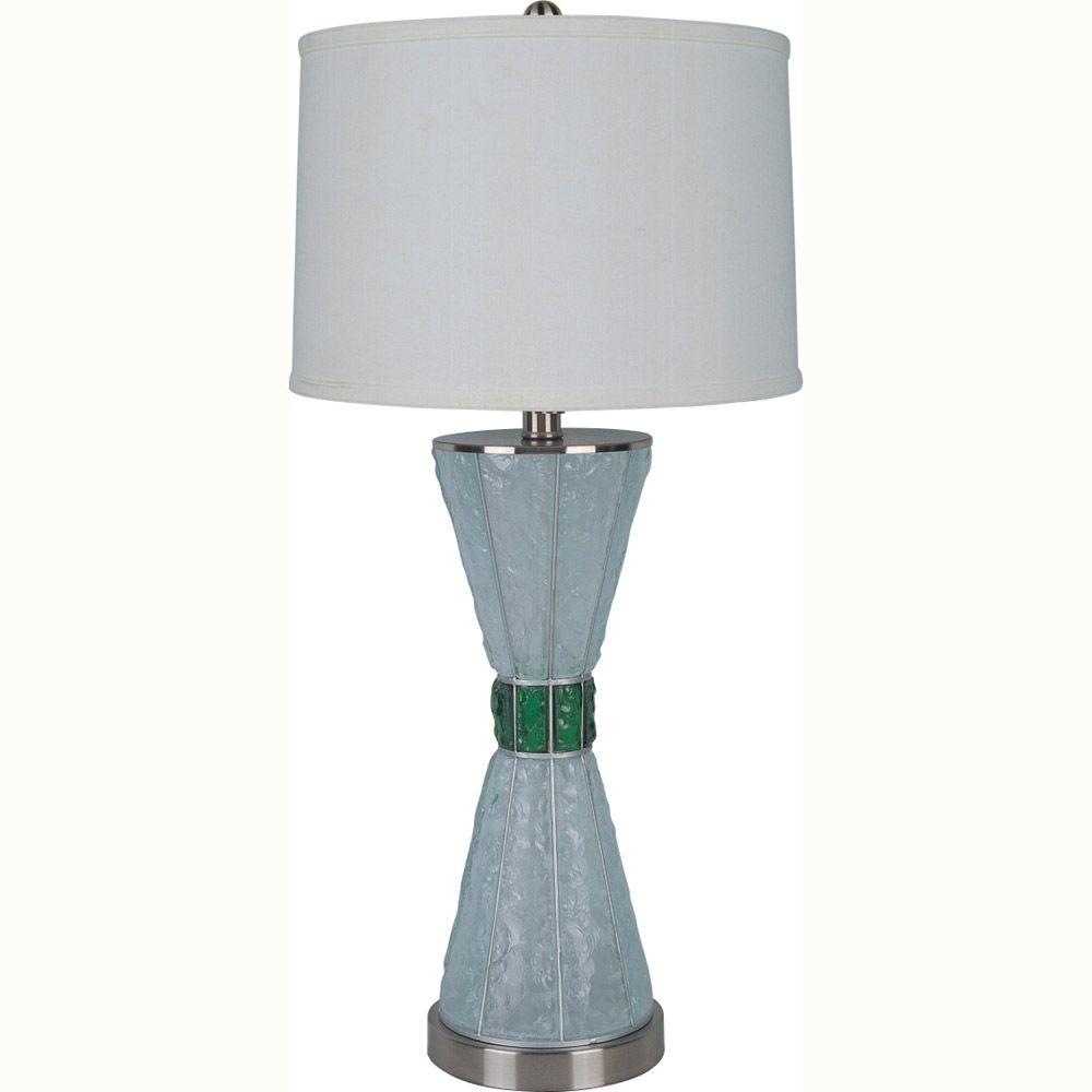 ORE International 29 in. Glass White and Emerald Green Table Lamp