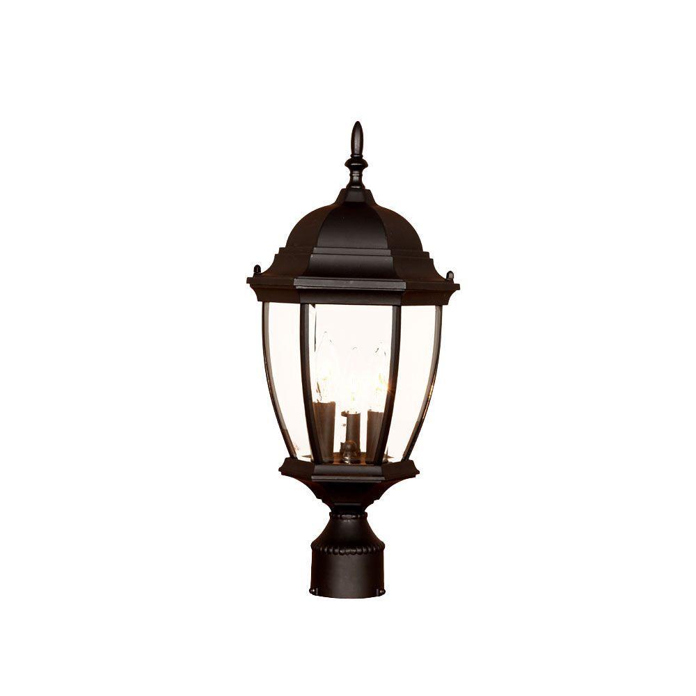 Wexford 3-Light Matte Black Outdoor Post-Mount Light Fixture