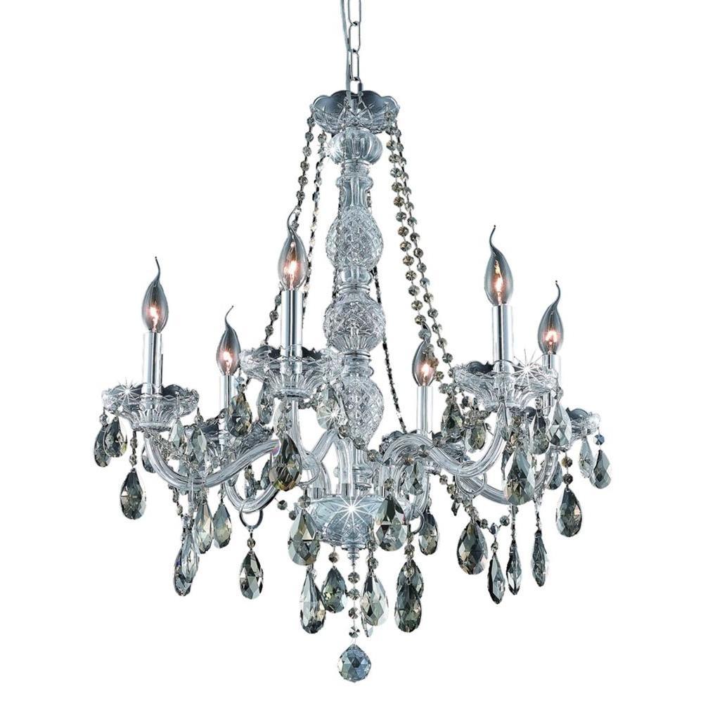 Elegant Lighting 6-Light Chrome Chandelier with Golden Teak Smoky Crystal