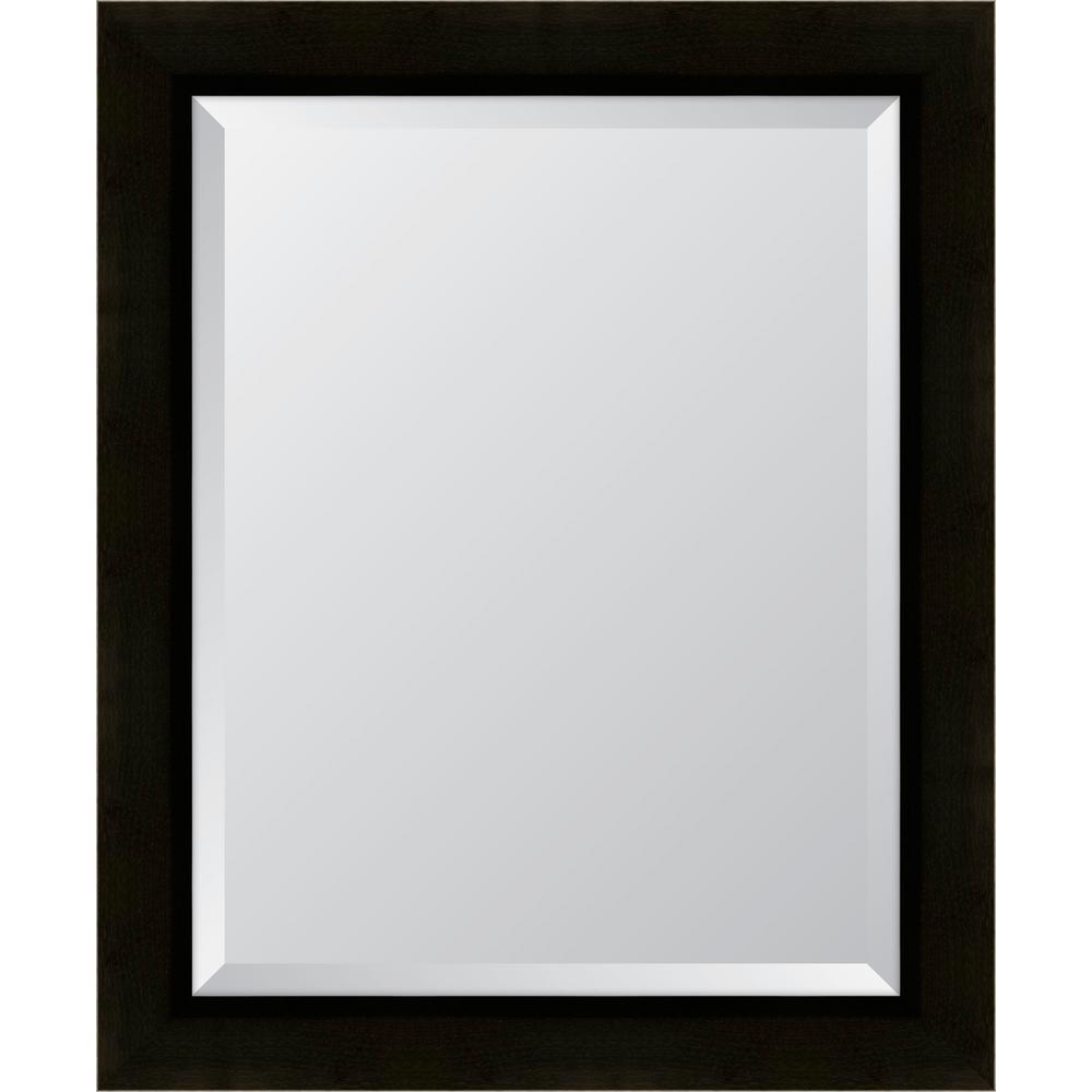 Medium Rectangle Brown Beveled Glass Classic Mirror (28 in. H x 34 in. W)