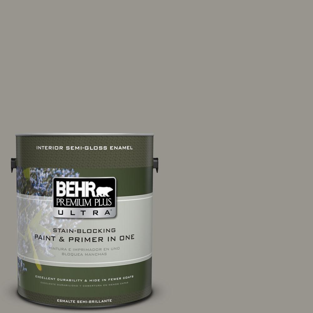 BEHR Premium Plus Ultra 1-gal. #N360-4 Battleship Gray Semi-Gloss Enamel Interior Paint