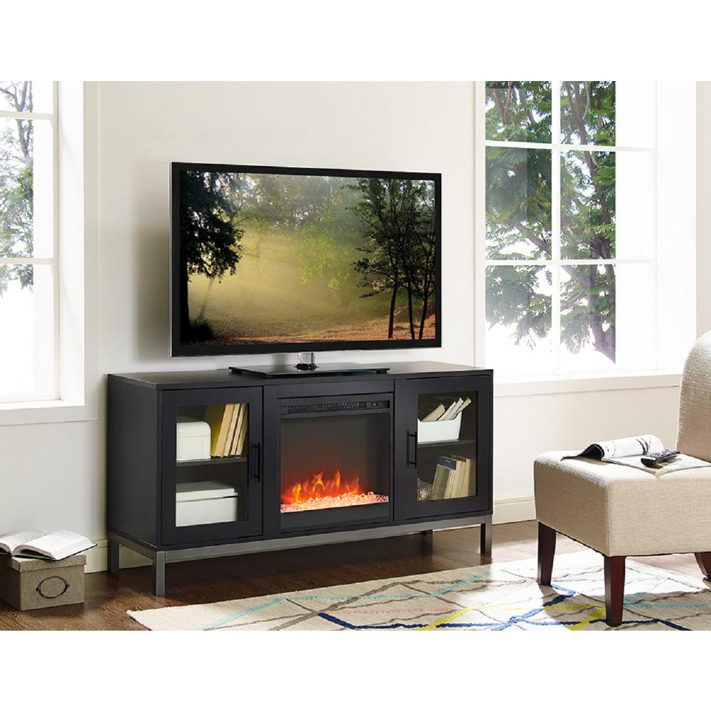 Walker Edison Furniture Company 52 In Avenue Wood Fireplace Tv Console With Metal Legs In Black
