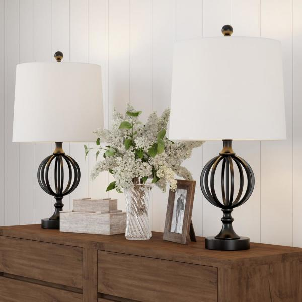 Lavish Home 25 In Openwork Black Iron, Home Depot Table Lamps For Bedroom
