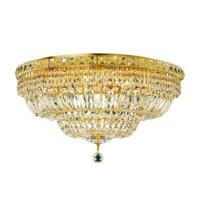 12-Light Gold Flushmount with Clear Crystal