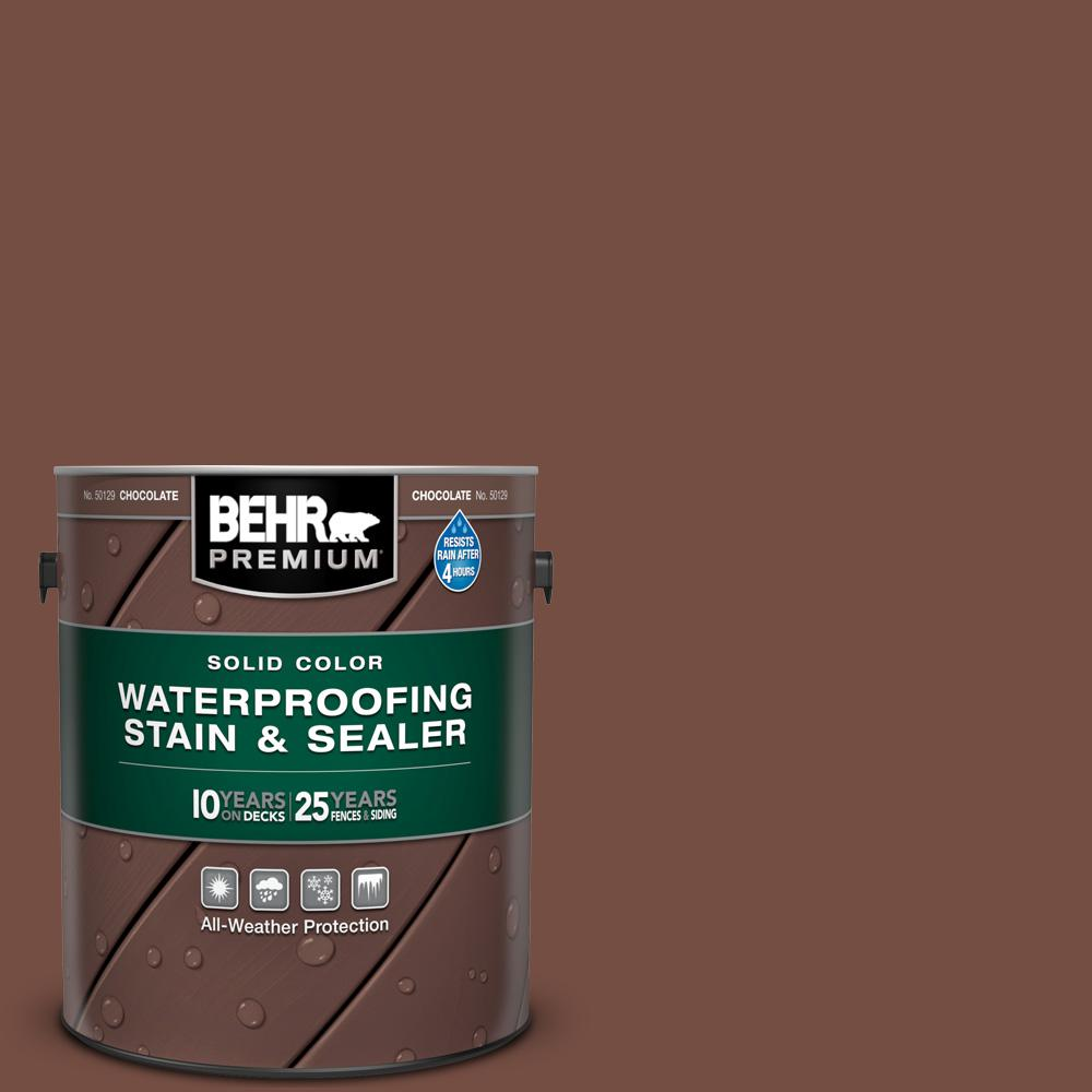 BEHR PREMIUM 1 gal. #SC-129 Chocolate Solid Color Waterproofing Exterior Wood Stain and Sealer