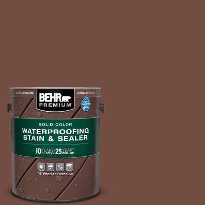 1 gal. #SC-129 Chocolate Solid Color Waterproofing Exterior Wood Stain and Sealer