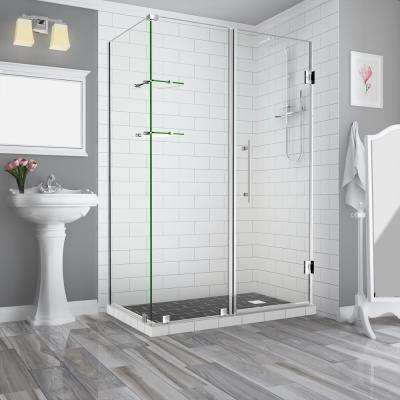 BromleyGS 55.25in.to56.25in.x32.375in.x72in. Frameless Corner Hinged Shower Enclosure w/Glass Shelves in Stainless Steel
