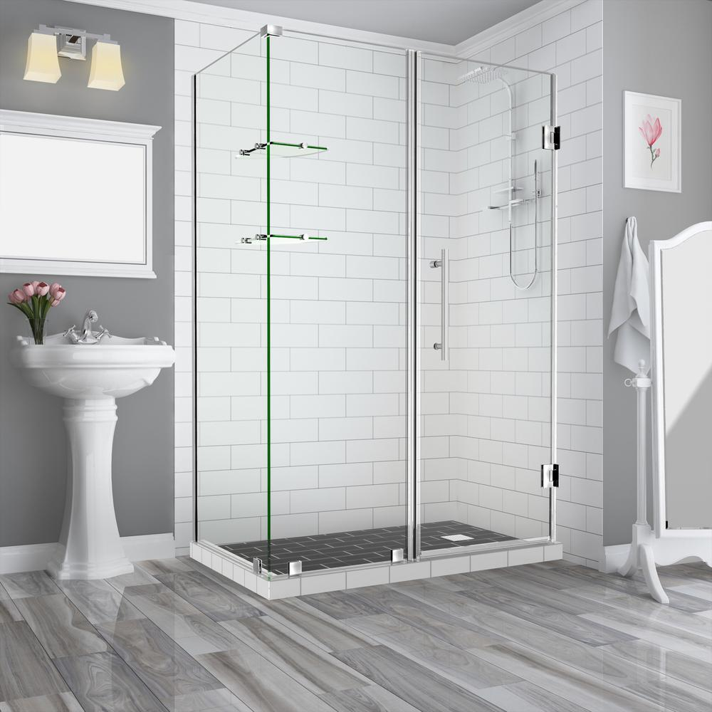 Aston Bromley GS 63.25 to 64.25 x 34.375 x 72 in Frameless Corner Hinged Shower Enclosure w/ Glass Shelves in Stainless Steel