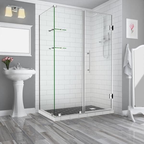Bromley GS 62.25 to 63.25 x 34.375 x 72 in Frameless Corner Hinged Shower Enclosure w/ Glass Shelves in Stainless Steel
