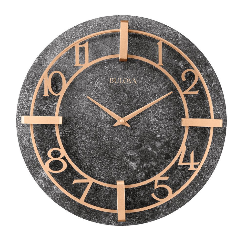 Bulova Retro Classic Granite Tone 16 in. Round Wall Clock