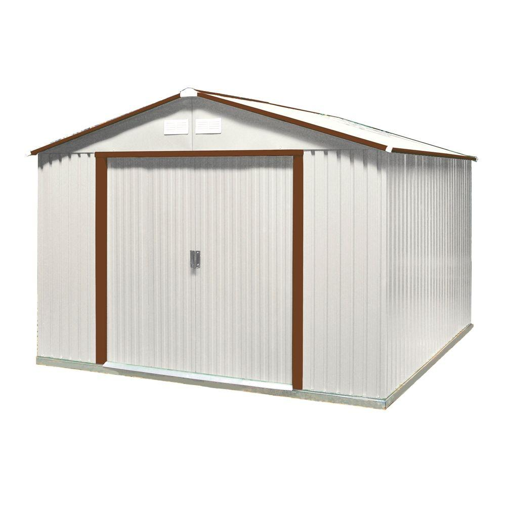 Duramax Building Products 10 ft. x 8 ft. Brown Trim Metal Shed
