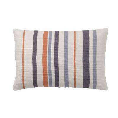 Brooklyn 16 in. x 24 in. Orange Striped Pillow Cover