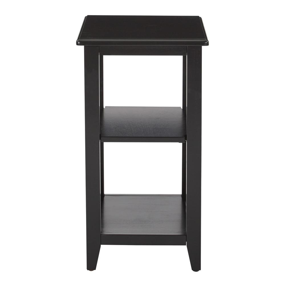 OSP Home Furnishings Black Santa Cruz Small Side Table A classic sidekick. Enjoy the classic elegance of dark wood combined with chic angular accents with this contemporary side table. The open shelf design makes it ideal for small spaces from the living room to the bedroom. Dress up your home with the Santa Cruz side table. Color: Black.