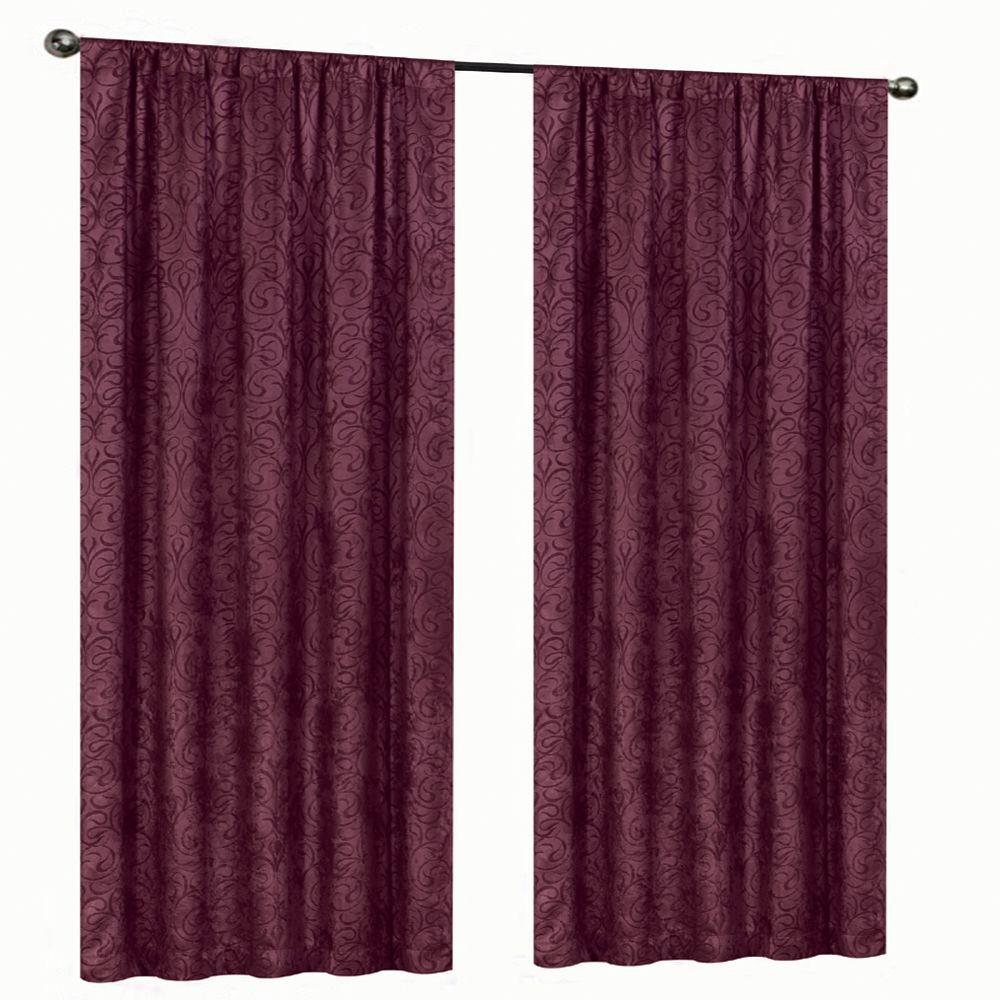 Home Decorators Collection Blackout Burgundy Stylized Scroll Embossed Darkening Curtain 50 In