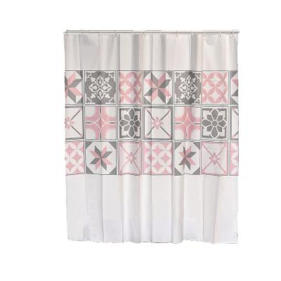 Bastide Collection 71 in. x 71 in. Plastic Printed Peva Liner Shower Curtain