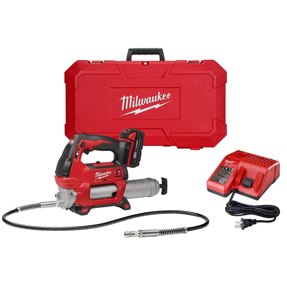 M18 18-Volt Lithium-Ion Cordless Grease Gun 2-Speed with (1) 1 5Ah  Batteries, Charger, Hard Case