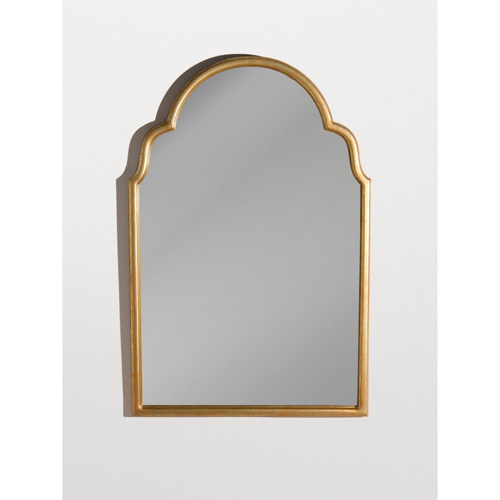 Medium Arch Gold Wood Romanesque Mirror (23 in. H x 35 in. W)