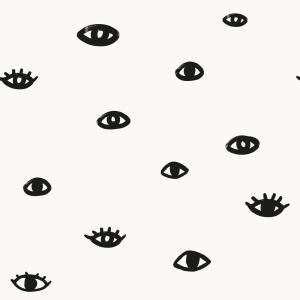 Bobby Berk Eye See You White & Gloss Black Peel and Stick Wallpaper 56 sq. ft.