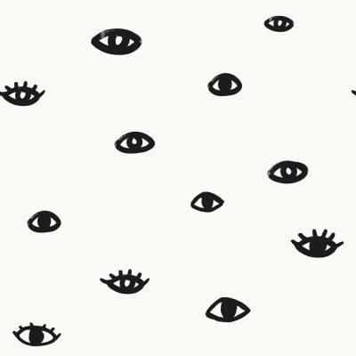 Bobby Berk Eye See You White & Gloss Black Self-Adhesive, Removable Wallpaper