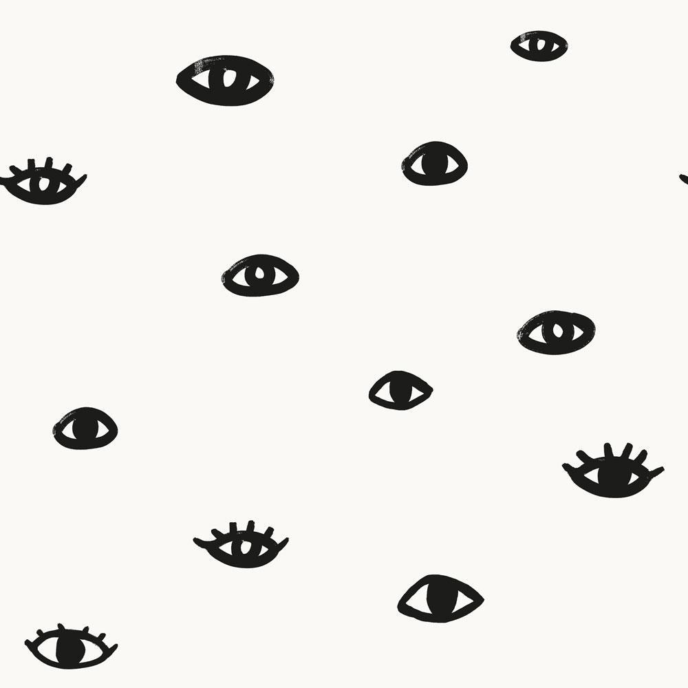 Tempaper Bobby Berk Eye See You White & Gloss Black Self-Adhesive, Removable Wallpaper