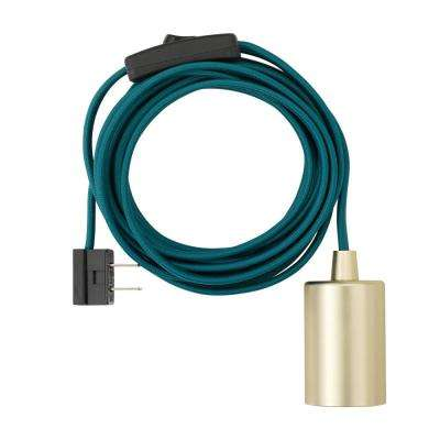 1-Light Teal and Brass Plug-In Exposed Socket Pendant