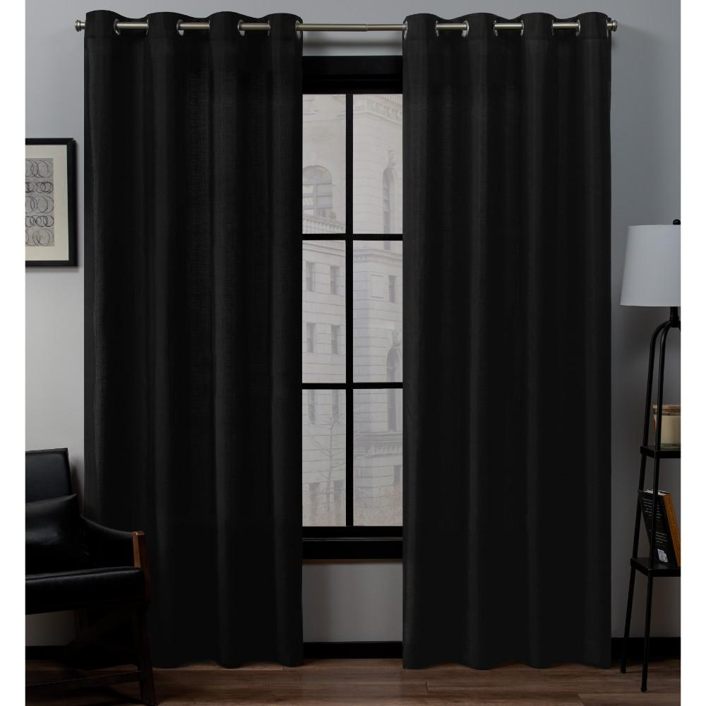 Exclusive Home Curtains Loha 54 In W X 108 In L Linen Blend Grommet Top Curtain Panel In Midnight 2 Panels