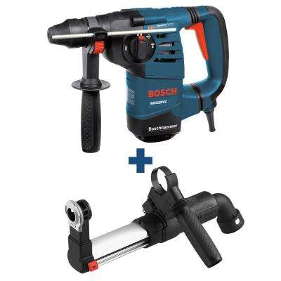 8 Amp 1-1/8 in. Corded Variable Speed SDS-Plus Rotary Hammer Drill with Auxiliary Handle and Bonus Dust Attachment