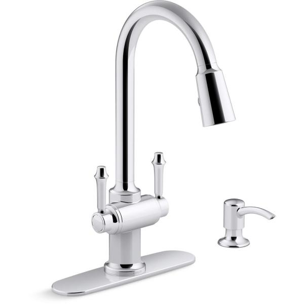 Kohler Thierry Two Handle Pull Down Sprayer Kitchen Faucet With Soap Dispenser In Polished Chrome K R22969 Sd Cp The Home Depot