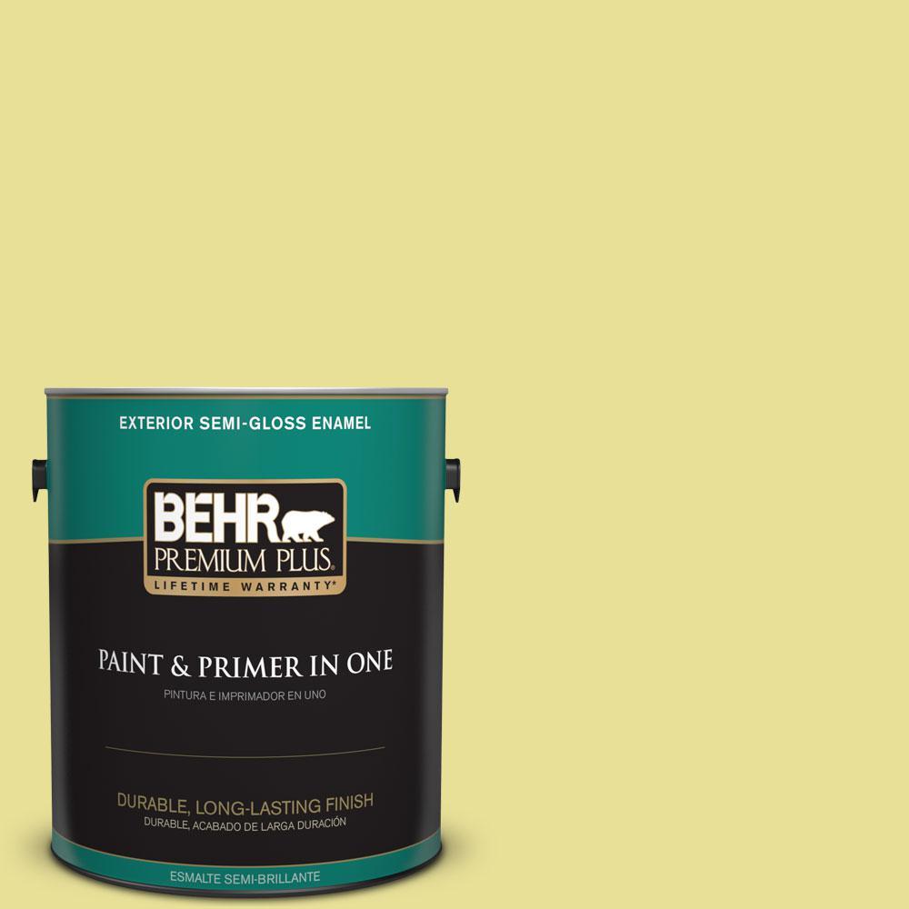 BEHR Premium Plus 1-gal. #P340-3 Reviving Green Semi-Gloss Enamel Exterior Paint