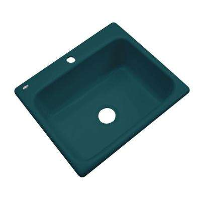 Inverness Drop-In Acrylic 25 in. 1-Hole Single Bowl Kitchen Sink in Teal