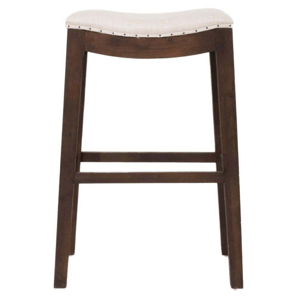 Bisque french linen rustic java oak bar stool