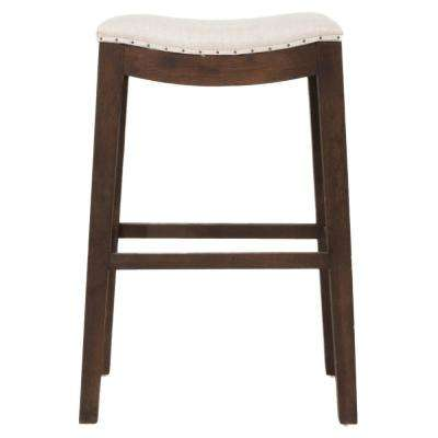 Harper 30 in. Bisque French Linen, Rustic Java Oak Bar Stool