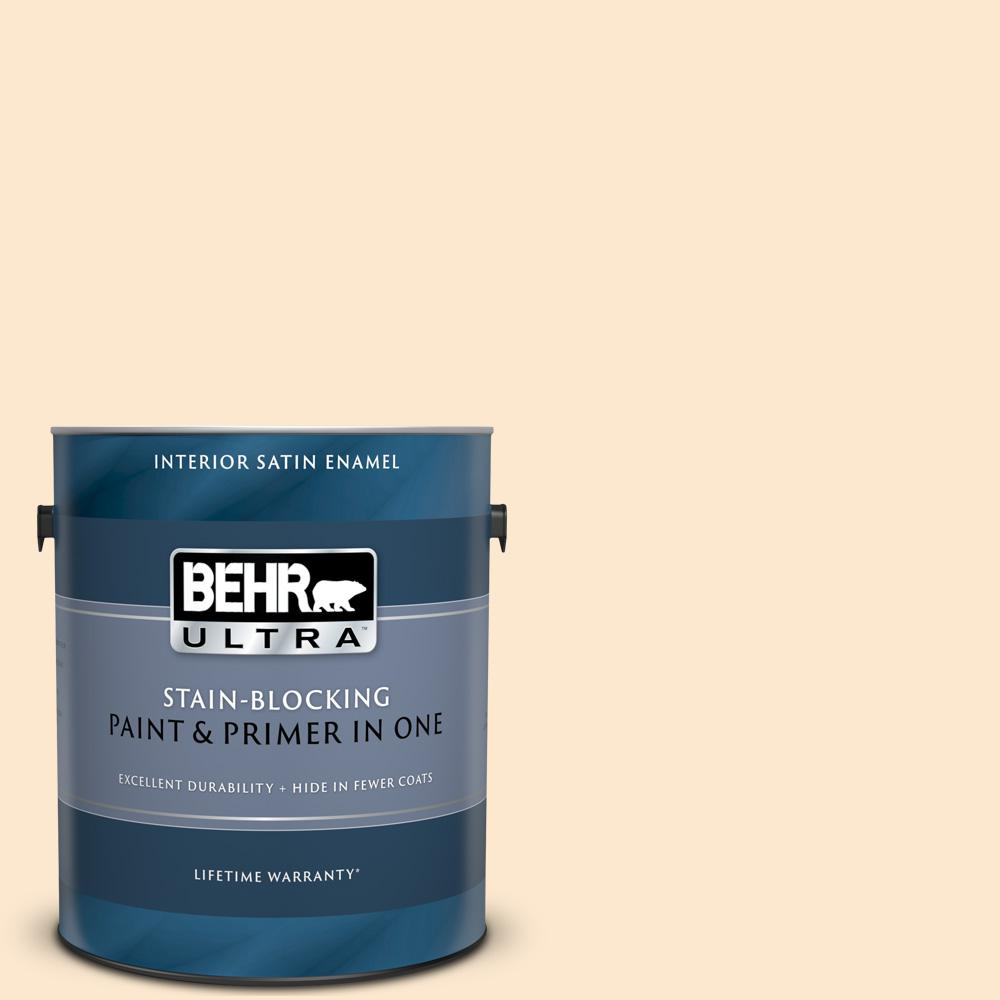 Behr Ultra 1 Gal M230 2 Fair Ivory Satin Enamel Interior Paint And Primer In One 775001 The Home Depot