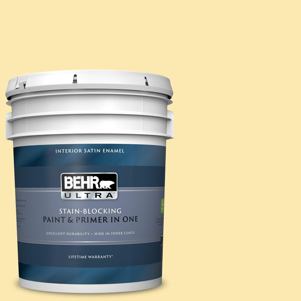 Behr Ultra 5 Gal 330a 3 Lively Yellow Satin Enamel Interior Paint And Primer In One 775405 The Home Depot
