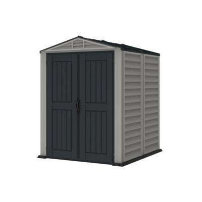 YardMate Plus 5 ft. 6 in. x 5 ft. 6 in. Gray Vinyl Storage Shed