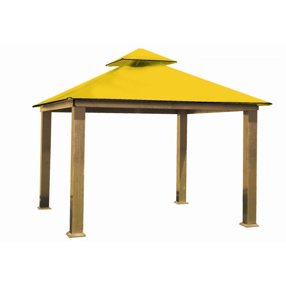 12 ft. x 12 ft. ACACIA Aluminum Gazebo with Yellow Canopy