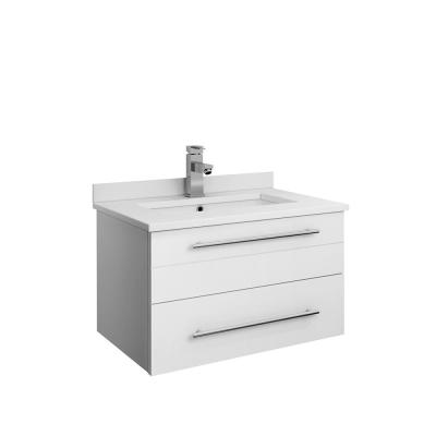 Lucera 24 in. W Wall Hung Bath Vanity in White with Quartz Stone Vanity Top in White with White Basin