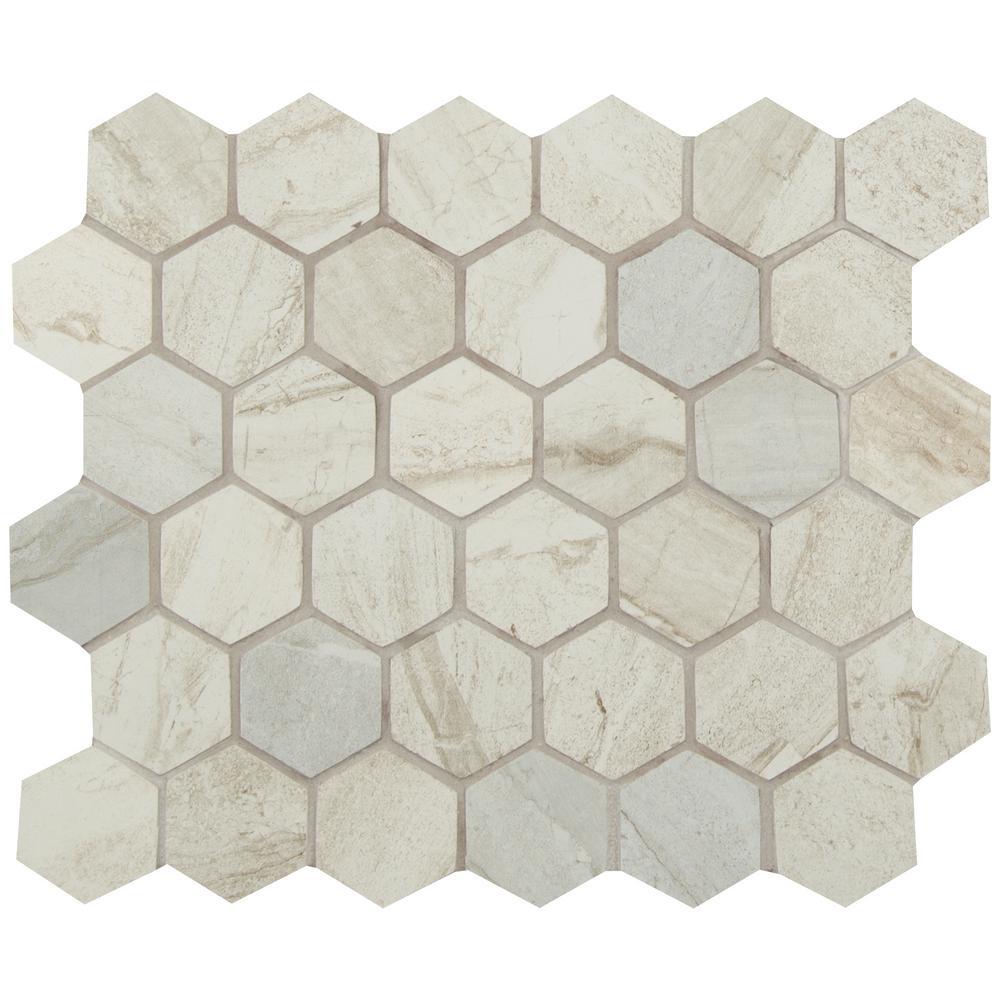 Atrium Kios Gris Glazed Porcelain Floor Tile: MSI Vigo Gris Hexagon 12 In. X 12 In. X 10mm Glazed