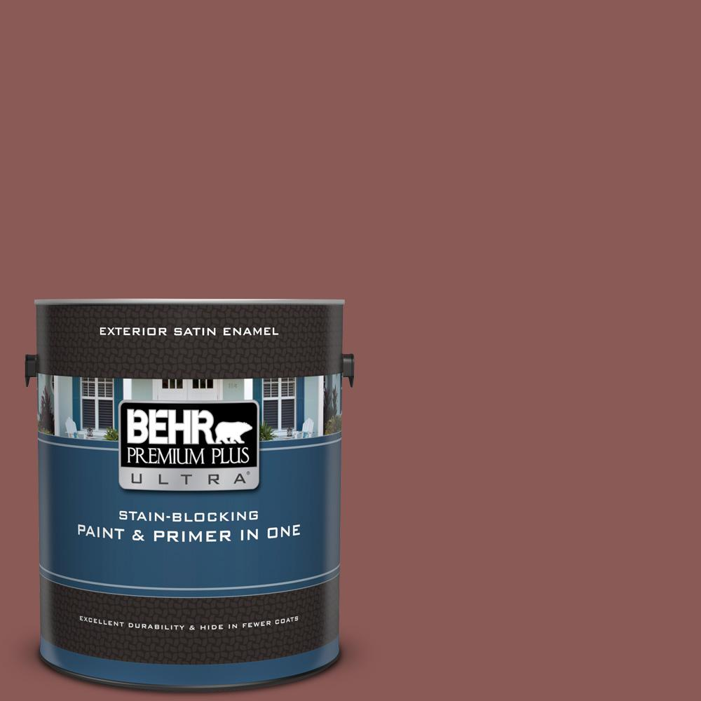 1 gal. #190F-6 Bold Brick Satin Enamel Exterior Paint and Primer