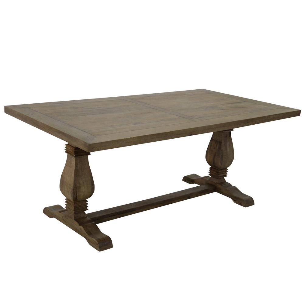 Wide Natural Wood Farmhouse Style Rectangular Dining Table