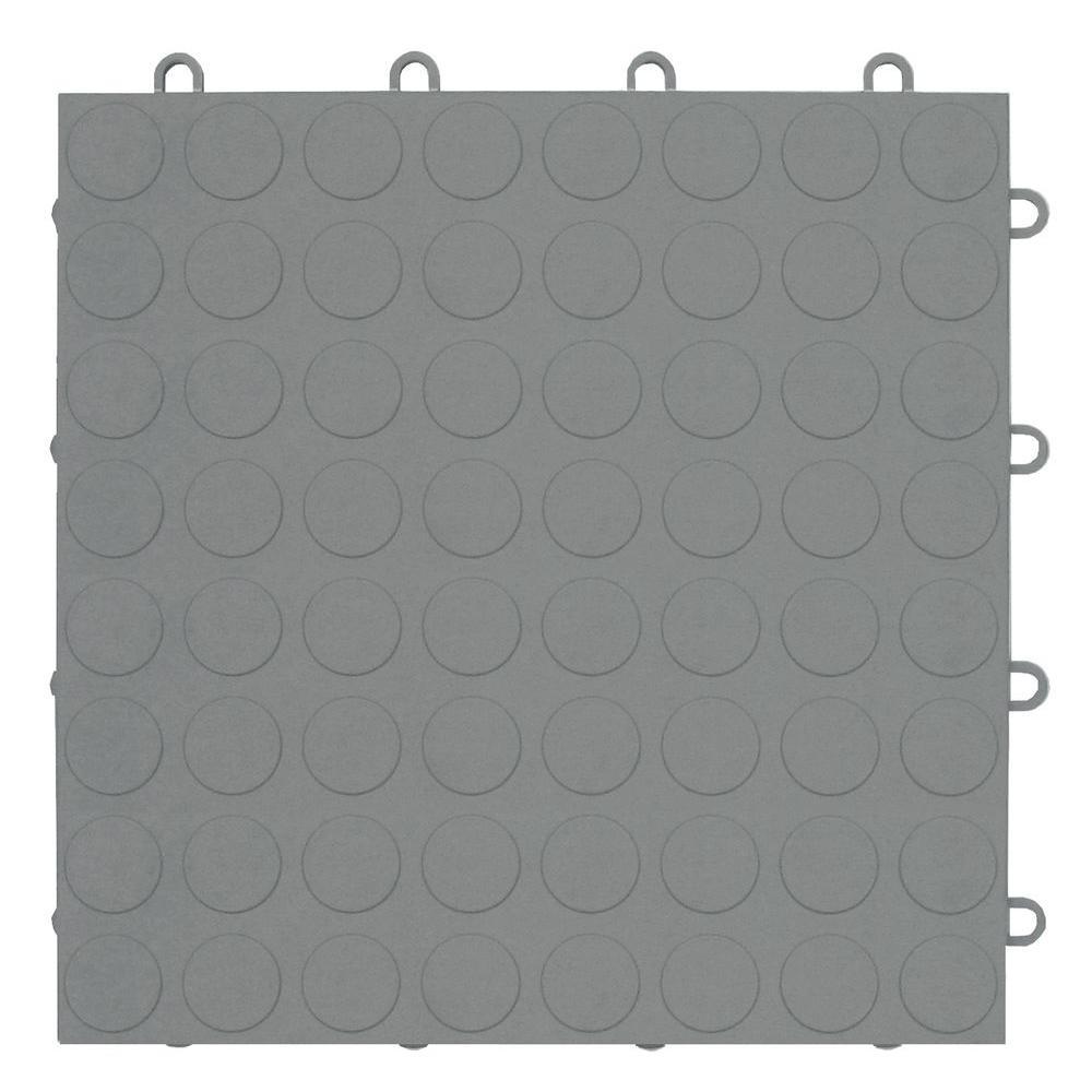 MotorMat Coin Silver 12 in. x 12 in. Garage Tile (40-Case)